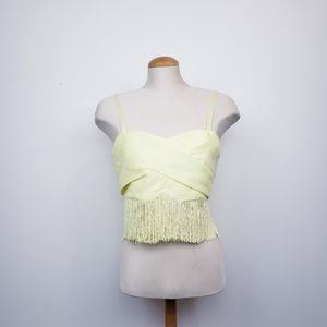 MUSTARD SEED |NWT Yellow Fringe Bralette Crop Top